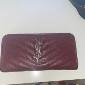 YSL Monogram Grain de Poudre Zip Around Wallet